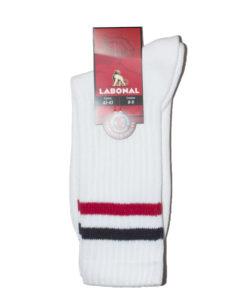 Chaussettes Tennis bouclette coton Labonal couleur blanc  et rayures OK