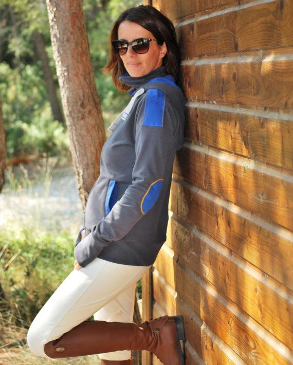 Sweat femme réversible gris/bleu en coton bio