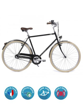 Velo de ville homme Coffee S3 nexus noir Arcade Cycles Made in France