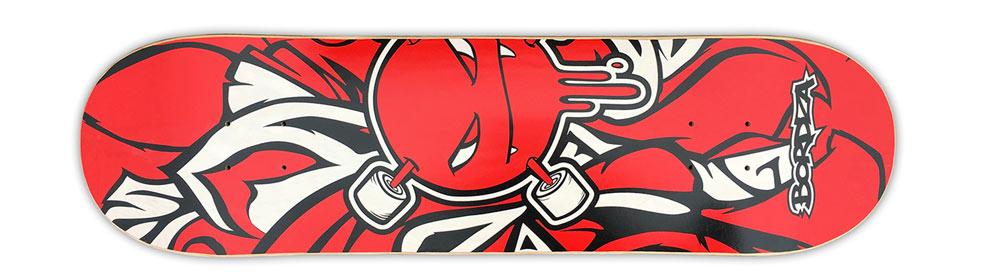 "Skateboard Curlzone rouge 8,6"" Bordza longboard skatepark freestyle"