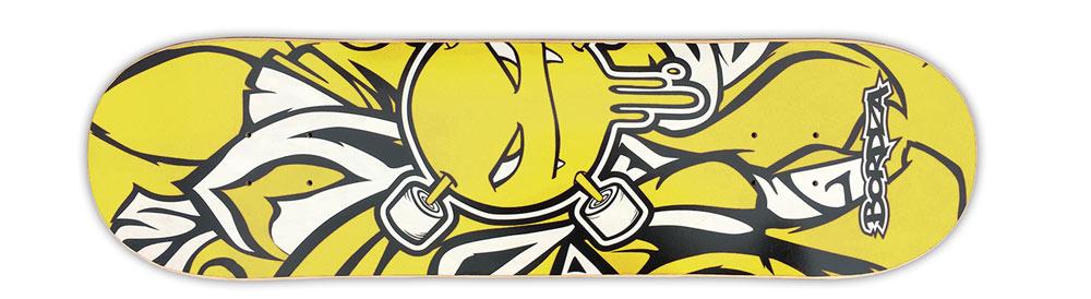 """Skateboard Curlzone 9"""" jaune Bordza longboard skatepark freestyle"""