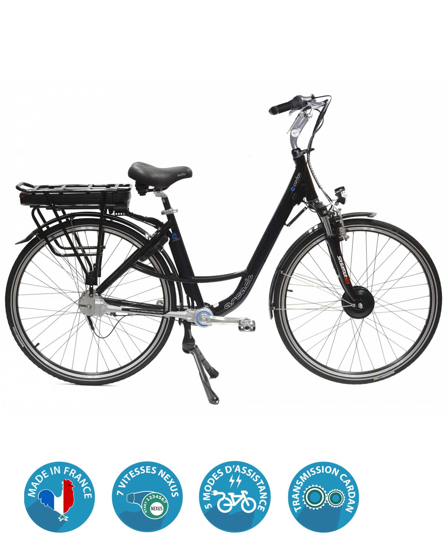 VAE e-cardan arcade cycles vélo électrique à cardan cintre gris