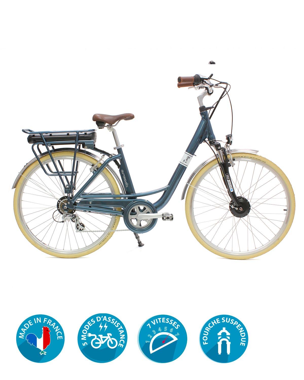 vélo électrique easy bleu metallic arcade cycles