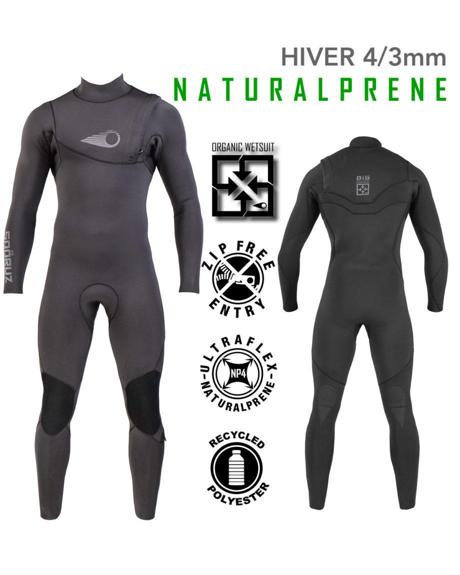 Combinaison Surf BIG Naturalprène 4/3mm Zip-Free Soöruz combinaison de surf eco-friendly wetsuit