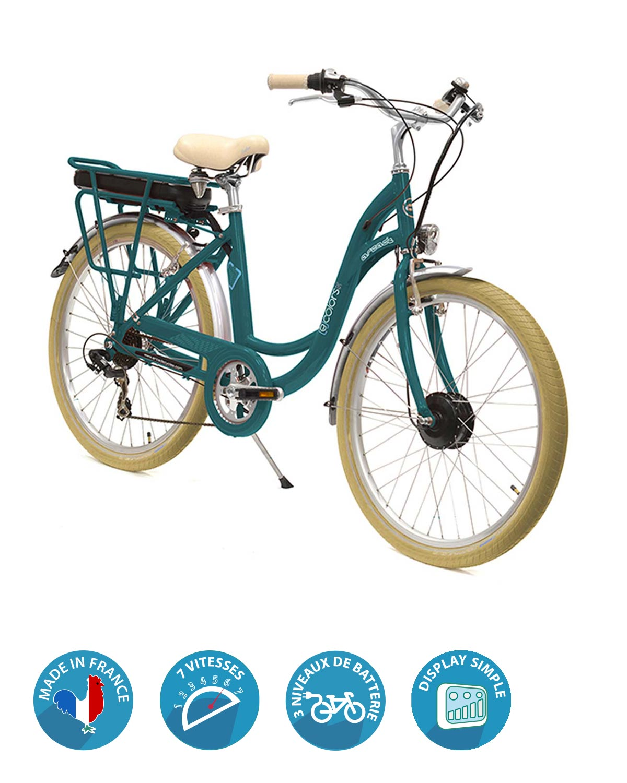 vélo électrique e-colors vert canard arcade cycles