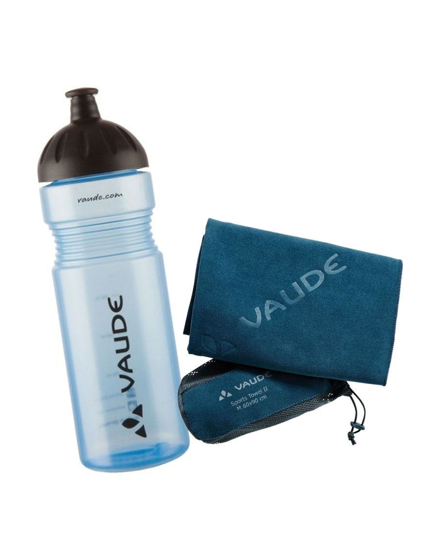 Kit sportif en salle Vaude gourde sans bpa serviette microfibre ultra-absorbante bleu