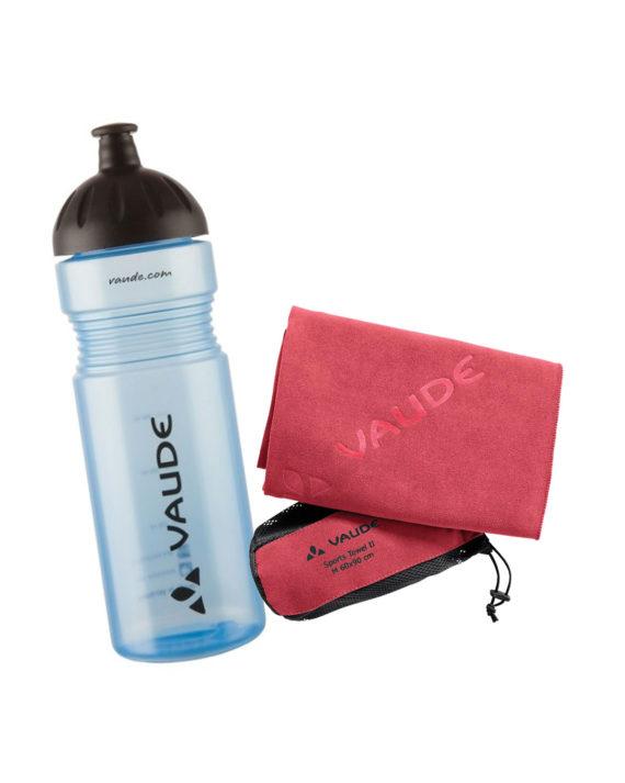 kit sportif en salle Vaude gourde sans bpa serviette microfibre ultra-absorbante rose