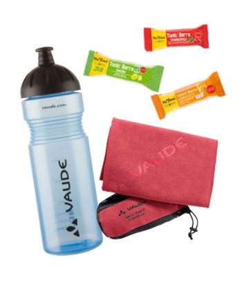 Kit sportif gourmand Vaude gourde sans bpa serviette microfibre ultra-absorbante rose