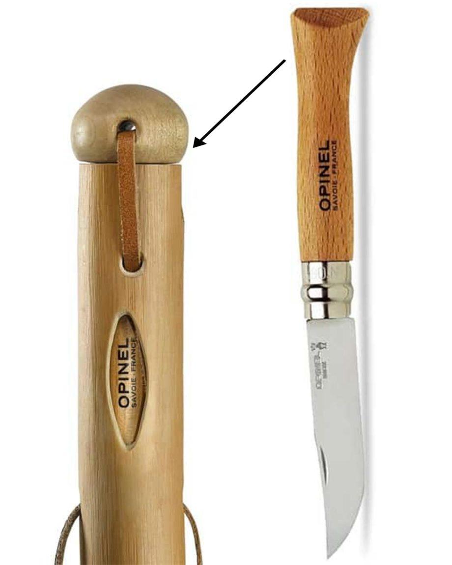 canne couteau baton de larche avec couteau opinel