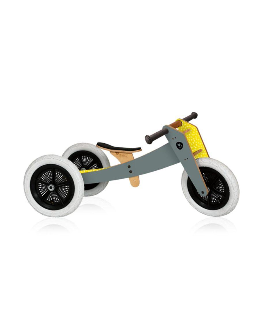 Draisienne bike en bois 3 en 1 grise by Wishbone