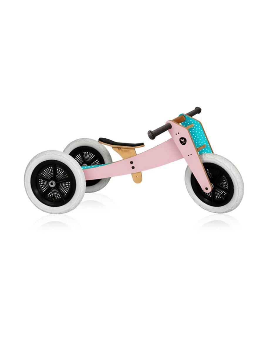 Draisienne bike en bois 3 en 1 rose by Wishbone