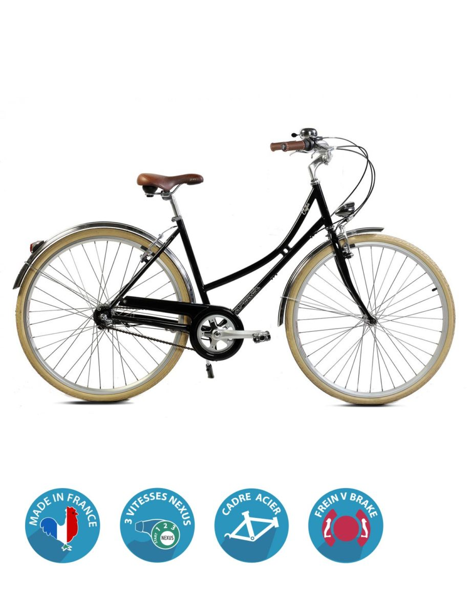 Velo de ville femme Coffee S3 nexus noir Arcade Cycles Made in France