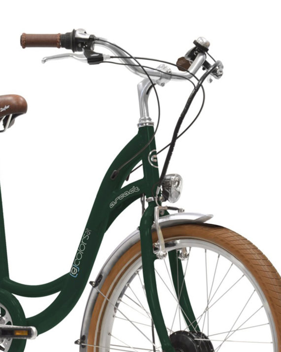 velo electrique vert anglais arcade cycles