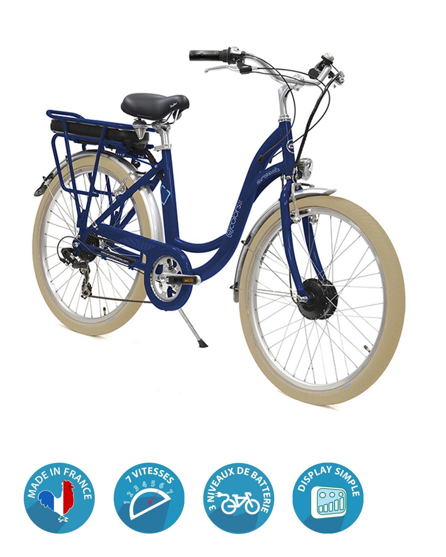 velo electrique e-colors bleu fregate arcade cycles