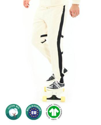 Jogging Blanc en coton bio pour homme Beard & Fringe GOTS