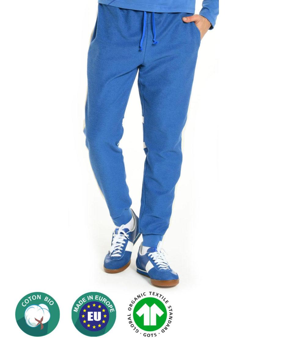 Jogging Bleu en coton bio pour homme Beard and Fringe