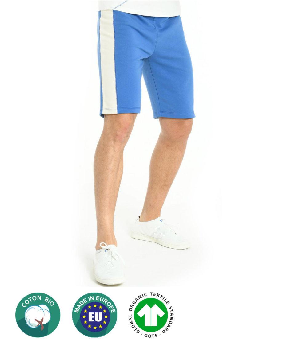 Short Bleu en coton bio pour homme