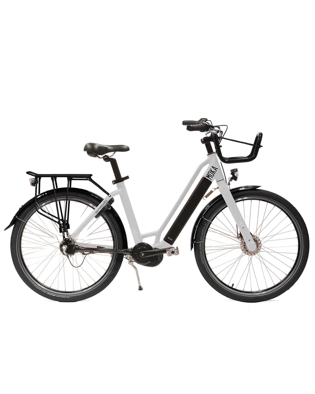 vélo électrique moka moteur central blanc arcade cycles