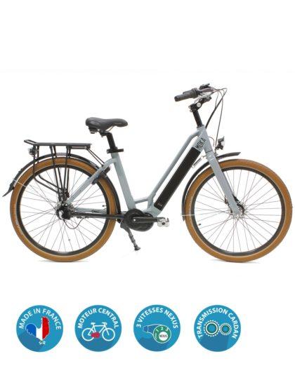 vélo électrique moka moteur central gris arcade cycles